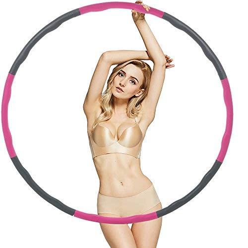 WXH-00 Erwachsener Hula-Hoop für Übung, um das Gewicht zu reduzieren.Abnehmbares Design.Professionelle weicher Fitness Hula-Hoop.Faltbar und einstellbar 2.42lbs / 1.1kg / Rosa grau