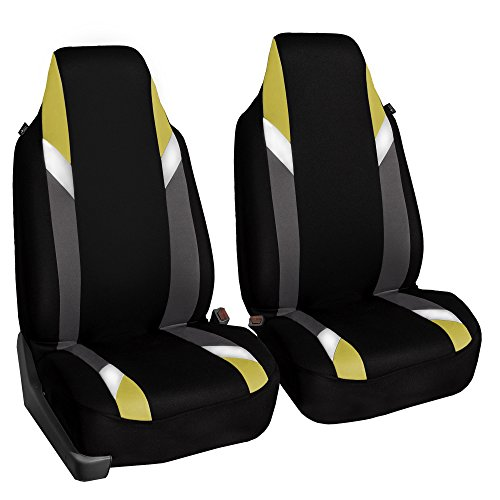 FH Group FB133YELLOW102 Bucket Seat Cover (Supreme Modernistic Airbag Compatible (Set of 2) Yellow)