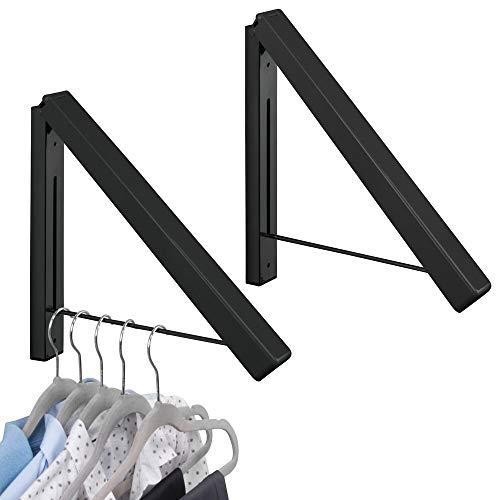 mDesign 2er-Set Klapphaken für die Waschküche – klappbarer Kleiderhaken aus Metall für Kleidung Aller Art – wandmontierter Kleiderhalter für Kleiderbügel – schwarz