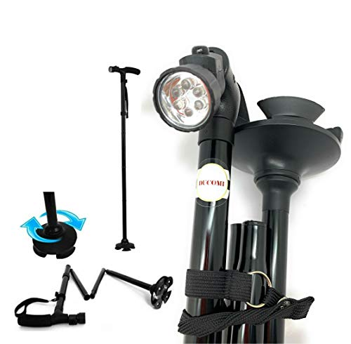 Ducomi Trusty - Bastón de paseo con luz LED, altura ajustable, plegable