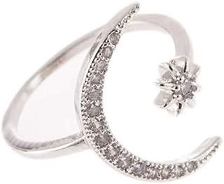 Crescent Star Rings Open Adjustable Rhinestone Cz Finger Band Half Moon Sun Inlay Engagement Ring for Women Girls
