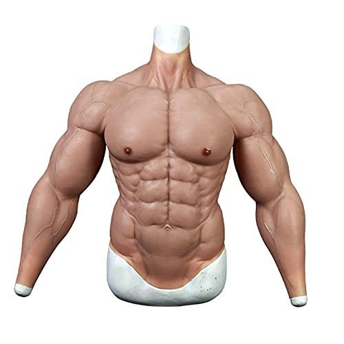 LUCKFY Männlicher Brust-Silikon-Muskelanzug - gefälschte Musles-Kostüm - männliche Hohe Kragen-Brust-Silikon-Muskelanzug Maskerade-Kostüm für Männer oder Frauen verwenden