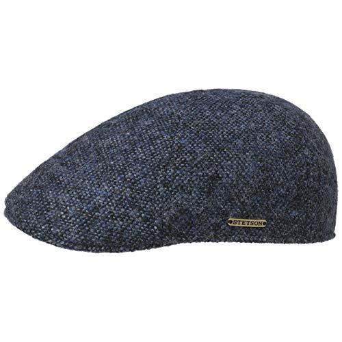 Stetson Texas Donegal Wool Flatcap Herren - Made in The EU - Gefütterte Schirmmütze aus Baumwolle - Schiebermütze aus Wolle - Melierte Tweed-Cap - Herbst/Winter dunkelblau L (58-59 cm)