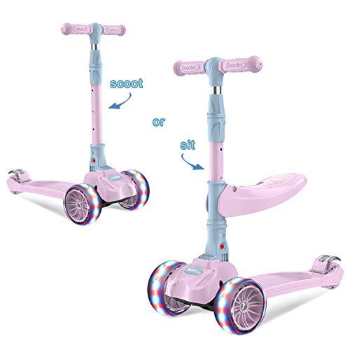 Barakara 3-in-1 Roller Kinder Kinderroller Faltbar Scooter, Dreirad für Kinder mit Abnehmbarem Sitz, Sicher LED Große Räder, Höheverstellbare Lenker für Mädchen & Jungen ab 2-13 Jahre Rosa