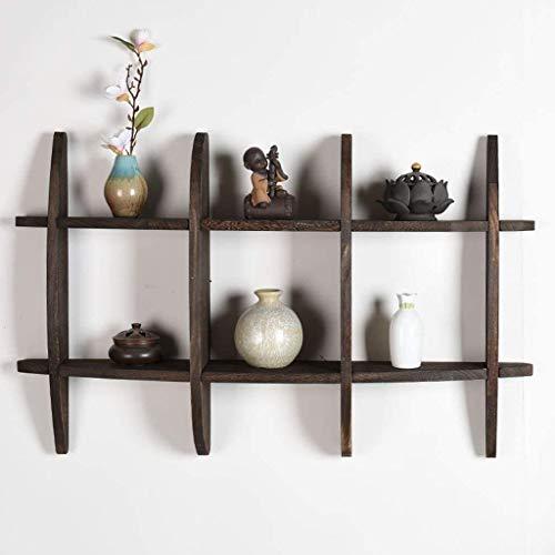 Wandrek massief hout Chinese decoratieve vitrine wandplank theeservies antiek frame wand antiek