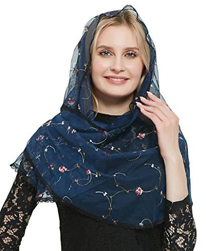 Orthodoxer Schleier Kopf Abdeckung mit gestickten Blumen katholische Kapelle Mantilla Schleier V50 - Blau - Einheitsgröße