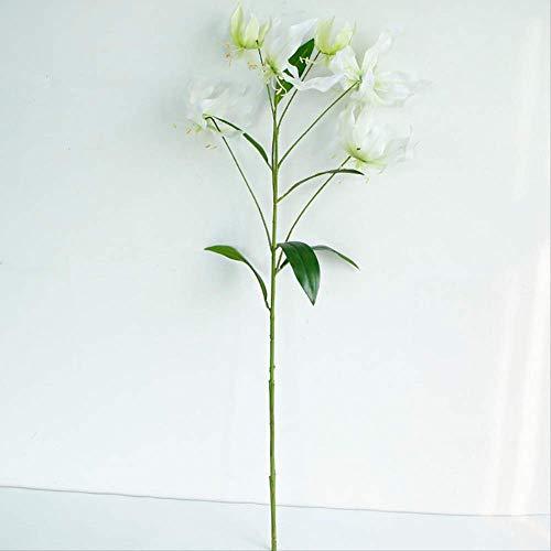 HKUWD Gefälschte Blume Seltsame Lilie Simulation Blume 3D-Druck 6 Flammenlilie Simulation Pflanze Home Hochzeitsdekoration Weiß