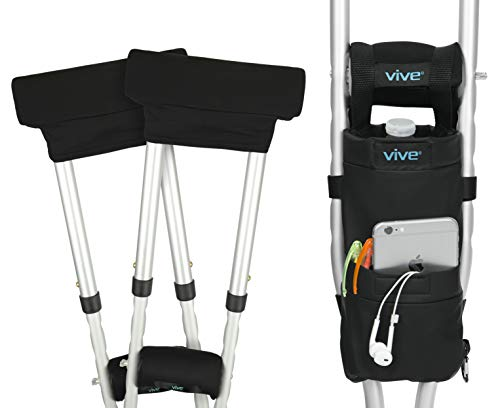 Vive Crutch Pad and Bag Set - Underarm Padding, Hand Grips and Pouch for Crutches - Soft Padded Handles and Universal Accessories for Men, Women and Kids - Lightweight Carry On with Storage Pockets