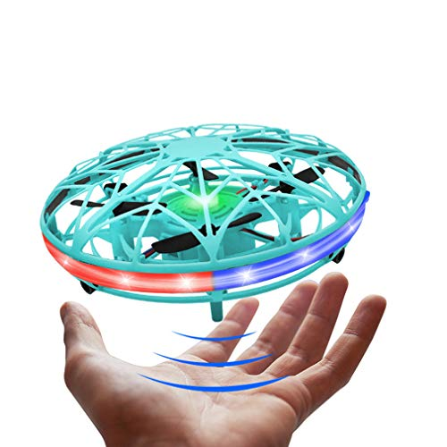 LED Hand Drone, Hand Operated Drones for Kids with 5 Sensors, Hands Free Mini Drones Small UFO, Hand Controlled Flying Ball Toys Gifts for Boys and Girls, Adults Blue