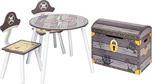 IB - Style - Meubles enfants PIRATE | 3 combinaisons | 4 piéces: 1 Table + 2 chaises + 1 banc - Chambre enfant Meuble enfant Mobilier Chaise d'enfant Baby