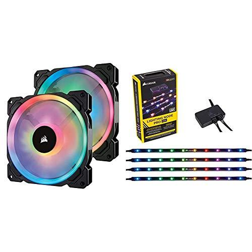 Corsair LL140 RGB LED PWM PC-Gehäuselüfter (140mm Dual Licht Loop RGB LED, Zweierpack mit Lighting Node PRO RGB LED Beleuchtung) schwarz