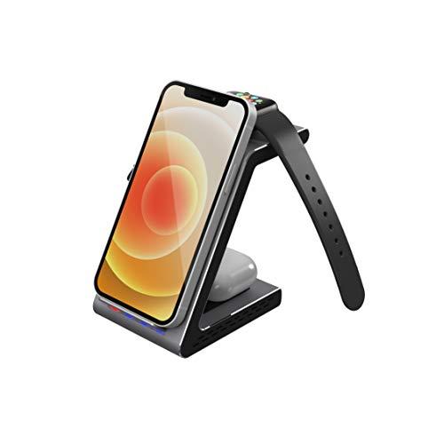 Prestigio Revolt A8 - Base de carga inalámbrica 3 en 1, compatible con productos Apple, cargador inalámbrico para Apple iPhone, Apple Watch y Airpods