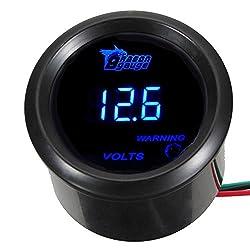 """commercial ESUPPORT Automotive 2 """"52mm Digital Voltmeter, Blue LED volt meter gauges"""