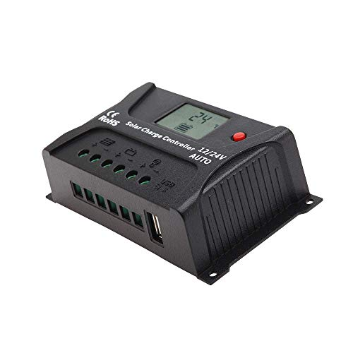 HQST PWM Solar Charge Controller 12V 24V Auto, 20 Amp Postive with LCD Display and 5V 1A USB Port, Compatible with Sealed, Gel, Flooded Lead-Acid and Lithium Batteries