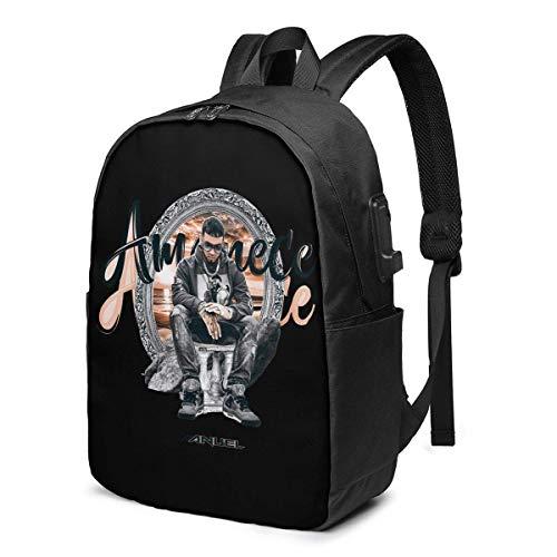 Rononand backpack Zaino Con porta di ricarica USB Zaino per laptop impermeabile casual elegante Borsa da viaggio ultraleggera Anuel AA Amanece Remix