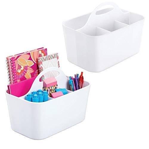 mDesign Juego de 2 pequeños organizadores de oficina con asa – Prácticas cestas de plástico para escritorio – Organizadores de escritorios con 4 apartados para material de oficina – blanco