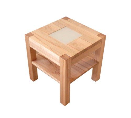 Couchtisch Holztisch Beistelltisch Kernbuche massiv + satiniertes Glas. Maße 50x50x60cm hoch. Sondermaße.