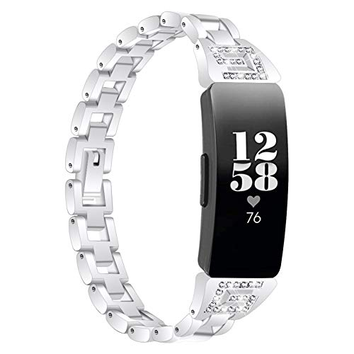 TechCode Inspire 2 Bling Bands, Slim Premium Metal Watchband with Rhinestone Diamond Bling Strap Replacement Jewelry Bracelet Wristband Accessories for Fitbit Inspire 2 (Plata)