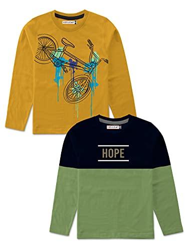 HELLCAT Boys Full Sleeve Round Neck Cotton Tshirt -Combo Pack of 2 Green/Yellow