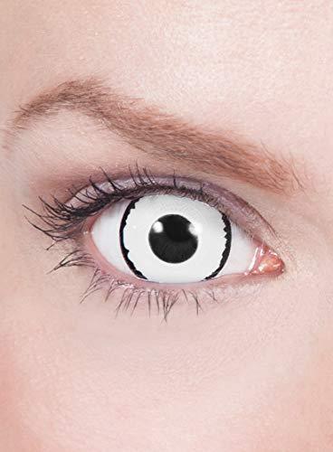Maskworld - Mini-Sclera weiß-schwarz - farbige Kontaktlinsen / 6-Monats-Linsen (17mm) - Motivlinsen ohne Sehstärke - Unisex - Erwachsene - ideal für Halloween, Karneval, Motto- und Horror-Party