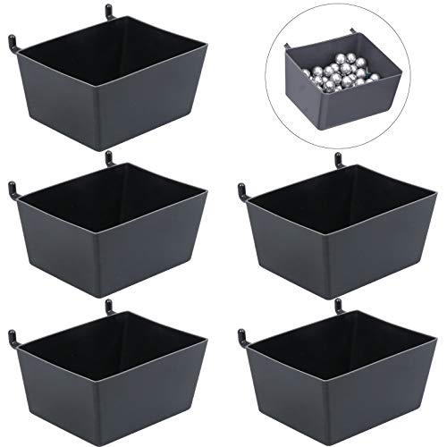 OBANGONG 5 Pcs Pegboard Bins for Parts Storage Plastic Storage Bin Hanging Stacking Containers for Organizing HardwareAttachmentsCraft and PartsBlack