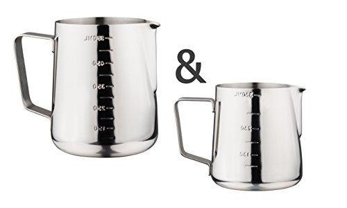 Luxpresso Duo-Set: Milchkännchen/Milchaufschäumkännchen mit Messskala aus Edelstahl, 350 ml + 550 ml