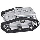 KOOKYE Robot Tank Car Kit Tank Chassis Platform Metal Stainless Steel 2DW Motor for Arduino / Raspberry Pi DIY (Silver Tank Chassis)