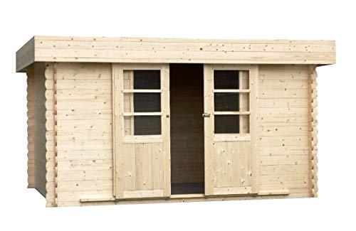Alpholz Gartenhaus Eupen 28 aus Massiv-Holz | Gerätehaus mit 28 mm Wandstärke | Garten Holzhaus inklusive Montagematerial | Geräteschuppen Größe: 390 x 300 cm | Flachdach