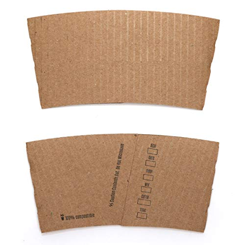 Hot Cup Coffee Sleeves [500 Count] BELLE TERRE - Disposable, Biodegradable, Compostable, Corrugated Kraft Paper Sleeve Java Jackets Bulk, Fits 10oz 12oz 16oz 20oz Cups