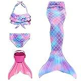 DNFUN Colas de Sirena para Nadar con Aleta -Disfraces de Sirena para niñas con Bikini