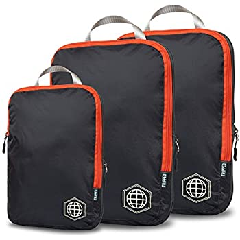 Compression Packing Cubes for Travel - Luggage and Backpack Organizer Packaging Cubes for Clothes  Grey and Orange 3 Piece Set
