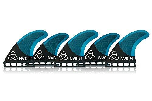 Naked Viking Surf Medium JL Tri-Quad Surfboard Fins (Set of 5 Fins) Blue Carbon, FCS