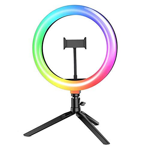 Luz Anillo LED con Trípode, BlitzWolf 10.2' RGB Selfie Anillo de Luz con Soporte de Móvil y Control Remoto Bluetooth, Aro de Luz con 7 RGB Colores Regulable 10 Niveles de Brillo y 3 Modos de Luz