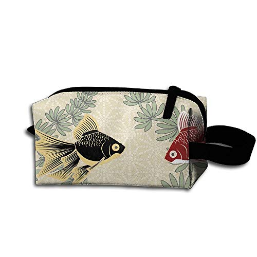 Makeup Cosmetic Bag GoldFish Wallpaper Medicine Bag Zip Travel Portable Storage Pouch For Mens Womens
