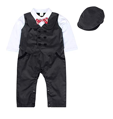 AmzBarley Conjunto de Traje Disfraz de Caballero Banquete Boda Niño Conjunto Bebé Tres Piezas Botones Lazo Negro 6-12 Meses