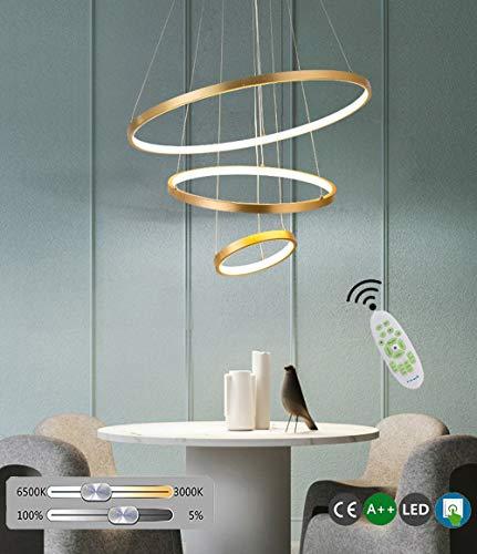 Modern LED Pendelleuchte 3 Rund Ring Hängelampe Aluminium Acryl Golden Hängeleuchte Dimmbar Fernbedienung Höhenverstellbar Wohnzimmer StudieZimmer Büro Schlafzimmer Lampen Esszimmerlampe
