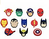 Super-hero Shoe Charms for Crok, 12 pcs Anime Charms for Wristbands Bracelet, Manga Clog Pins Accessories, Charms for Adults Sons - Grandsons - Party Gifts - Charms Decoration