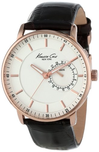 Kenneth Cole New York Men's Quartz Stainless Steel Case Leather Strap...