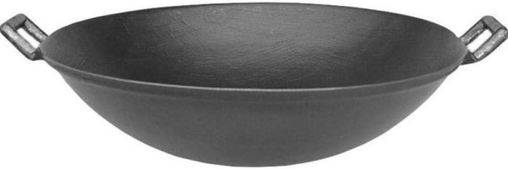 MIDYVQD Tradizionale Ferro Wok Wok Ferro Non Rivestito Antiaderente Ghisa Stufe A Gas Wok Ghisa con Maniglia 34 Centimetri,34cm