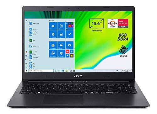 Acer Aspire 3 A315-23-R97U Pc Portatile, Notebook con Processore AMD Athlon Silver 3050U, Ram 8 GB DDR4, 256 GB PCIe NVMe SSD, Display 15.6  FHD LED LCD, AMD Radeon, Windows 10 Home, Nero