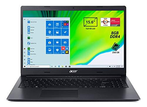 Acer Aspire 3 A315-23-R97U Pc Portatile, Notebook con Processore AMD Athlon Silver 3050U, Ram 8 GB DDR4, 256 GB PCIe NVMe SSD, Display 15.6' FHD LED LCD, AMD Radeon, Windows 10 Home, Nero
