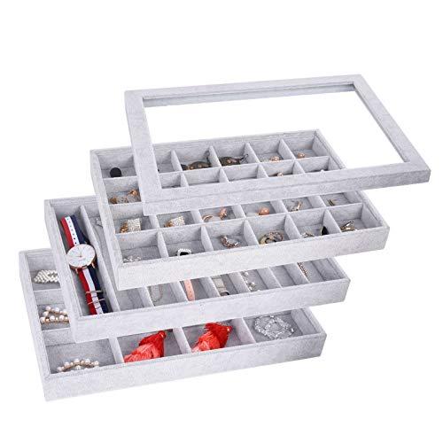 AUTOARK Ice Velvet Stackable Jewelry Tray Showcase Display Organizer,Glass Lid Top,Set of 4,AJ-175