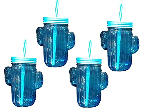 Pack de 4 vasos de cristal con pajita reutilizable libre de BPA...