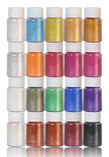 DEWEL Mica en Polvo,Pigmentos para Resina Epoxi/Slime/Uñas/Jabones/Pinturas - Nacarada 20 Colores,10 g