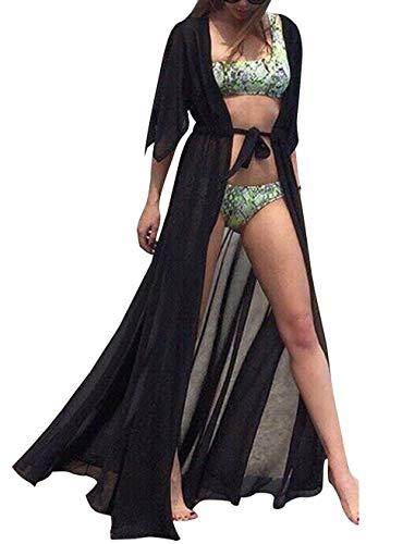 Cardigan Largo para Mujer Verano Tallas Grandes Kimono de Gasa Cárdigan Traje de Baño Vestir Ropa Piscina Playa Camisolas y Pareos Beachwear Bikini Cover Up