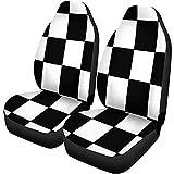 Fundas para asientos de coche Checker Blanco y negro Racing Patrón a cuadros Tablero de banderas Accesorios para automóviles Protectores Universal