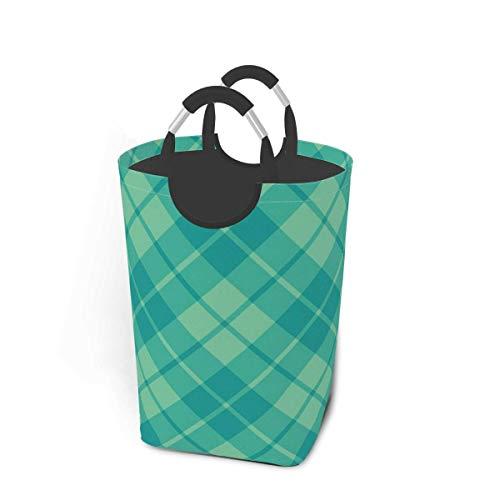 Cesto de almacenamiento para la colada, color verde azulado y verde surf, diagonal, cesta de almacenamiento plegable grande para ropa sucia, juguetes y libros