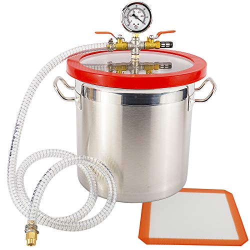 Toolly 3 Gallon Vacuum Chamber Stainless Steel stabilizes Degassing Urethanes, Silicones and Epoxies, High Vacuum Compatible with New Position Vacuum Pump