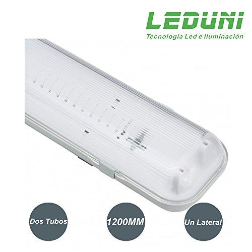 LEDUNI ® Pantalla Estanca para dos tubos T8 LED Conexión un Lateral 1200MM