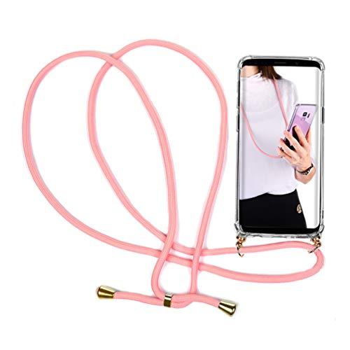 S9 Plus Funda con Cuerda para Samsung Galaxy S9 Plus - Carcasa Transparente de TPU con Colgante Case con Correa Colgante - con Cordon para Llevar en el Cuello en Transparente, Rosa